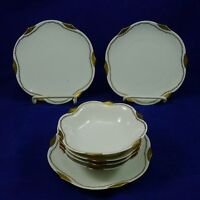 Antique RS GERMANY PRUSSIA Berry Bowl BREAD BUTTER Dish Gold Trim BLUE MARK Lot