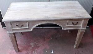 Desk IN Wood Teak Masello White Pickled CM 130x60x80h A 2 Drawers