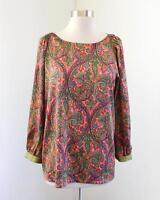 Ann Taylor Loft Vibrant Paisley Print Blouse Size M Pink Orange Green Popover