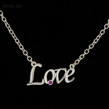 """18K Gold Plated Created Ruby CZ  Love Word Script Choker Pendant Necklace 16""""+2"""""""