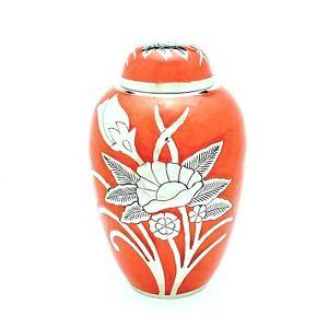 Red Flower Adult Cremation Urn