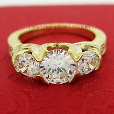 Genuine Solid 9k Yellow Gold Engagement Wedding 3 Stones Ring Simulated Diamonds