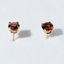 EARRINGS - 14K GOLD Genuine, Natural MOZAMBIQUE GARNET Stud Earrings - NEW!