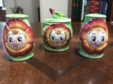 Vintage Japan PY Anthropomorphic Mums Flower Salt Pepper Shaker Sugar Bowl CRT