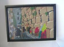 "Original Needlepoint Picture of Jewish Jersalem Wailing Wall 12"" x 9"" framed"