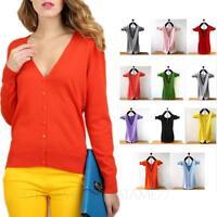 womens Knitwear Bolero V Neck Ladies Cashmere Long Sleeve Cardigan Plus Sz tata