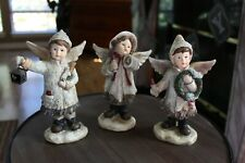 """Three Victorian Style Angel Children Figures 7"""" Tall Resin for Tii Transpac"""