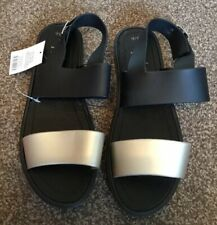 New* GEORGE * BLACK PLASTIC SANDALS , UK SIZE 5-6, Holiday, Beach. Honeymoon