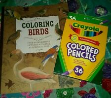 Coloring Birds Book~Adult~Audubon Society~W/ Artist Examples~Colored Pencils