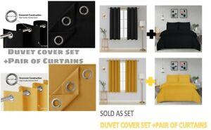 PLAIN DUVET COVER SET +Eyelet Curtains Blackout Thick Thermal Tie Backs Bed Set
