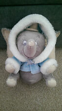 "DISNEY DUMBO SOFT TOY BEANIE WEARING BLUE WHITE SPARKLE HOODED COAT 10"" TALL"