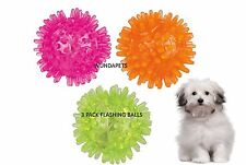 3 PK FLASHING 5CM RUBBER HEDGEHOG BALL SMALL DOG PUPPY TOY 50 HOURS 33640 THROW