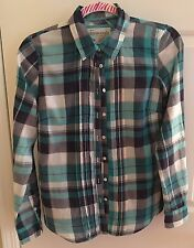 Aeropostale  Plaid Checkered Button Down L/S Cuff Dress T Shirt Top Blouse M