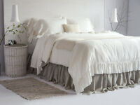 Linen Duvet Cover Set (3pcs) with Ruffles on One Side and Tie Closure