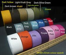 25mm Spun Polyester Webbing -DIY Canvas Cotton Bag strap/belt/FOB Keychain Craft