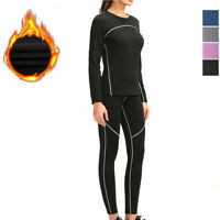 Thermal Underwear Set with Fleece Lined Ultra Soft Top & Bottom Base Layer Women