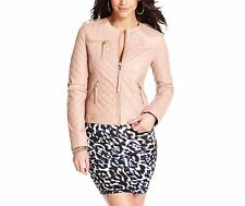 Guess Women's Pink Quilted Faux-leather Motorcycle, S