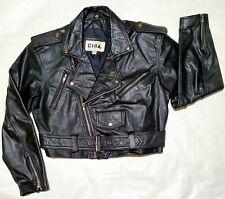 Vintage Chia Cropped Leather Motorcycle Punk Jacket Medium