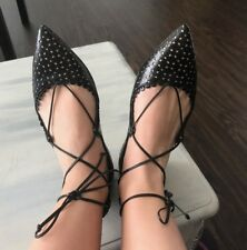 """Tabitha Simmons """"Willa"""" Black Perforated Leather Lace-up Flats Shoes SZ 40,41 EU"""