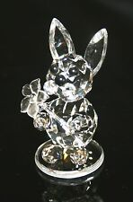 """Crystal Rabbit with Flower Figurine Made in Czech Republic 1.75"""" x 1"""" 10005"""