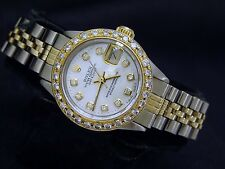 Rolex Datejust Ladies 2Tone 14K Gold Steel Watch White MOP Diamond Dial & Bezel