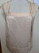 CUE Womens Gold Cap Fold Sleeve Square Neck Career Work Blouse Top ~ 14