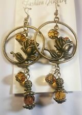 Artisan Victorian style brass flower Topaz glass Boho dangling round earrings