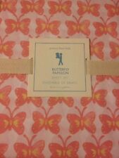 4pc POTTERY BARN KIDS BUTTERFLY SHEETS FULL ORANGE Coral