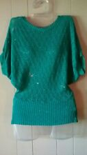 Rue 21 M Teal Crochet Light Sweater Top Metallic Dolman Sleeves Shell See Thru
