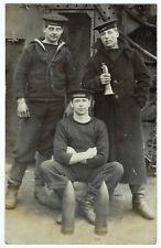 RPPC English Sailors aboard the HMS Blond, c1900s