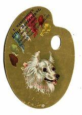 Victorian Trade Card E HABENSTEINS ELITE RESTAURANT die cut artist palette dog