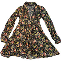ZARA Womens Fit & Flare Dress XS Multicolour Floral Tie-Front Long Sleeve