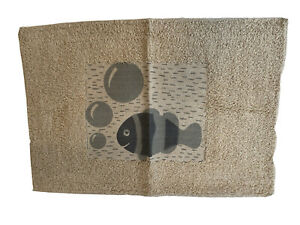 Bath Mat With Nautical Fish Design Cream