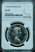:1960 S1$ DOLLAR ELIZABETH-II LOW-POP CANADA KM# 54 NGC PL-67 HIGHEST-GRADES