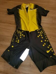 Vtg yellow polka-dot NIKE Pro Cycling Team Skinsuit Lance Armstrong - Size L