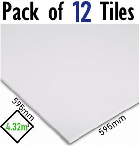 4.3m2 EasyClean Suspended Ceiling Tiles Vinyl 595x595 Wipeable 600x600 12 Tiles