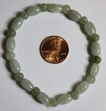 Genuine Natural (Grade A) Untreated Light Green Jadeite JADE Beads Bracelet #352