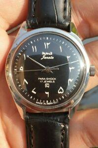 Vintage HMT Janata Arabic Dial Hand Winding 17 Jewels Hand Winding Mens Watch
