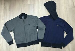 BOYS GREY / NAVY FRED PERRY TRACK BOMBER JACKETS, SIZE 10-12 YEARS