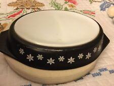 Vintage 1950s JAJ Pyrex Charcoal Black Snowflakes Divided Oval Casserole Dish 1 12 Qt.