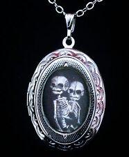 Siamese Twins Skeleton Silver Locket + Necklace Steampunk Freakshow Goth