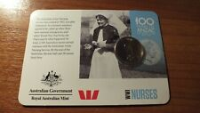 2015 100 YEARS OF ANZAC THE SPIRIT LIVES 20 CENT COIN ON CARD. NURSES.