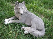 Reclining Wolf Statue Figurine Sculpture Polyresin Le Wildlife Dog Husky Pup