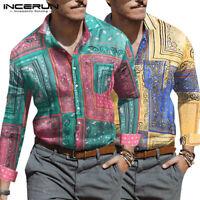 INCERUN Mens African Long Sleeve Tee Shirt Dashiki Floral Casual Tops Tee Blouse