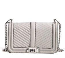 NWT Rebecca Minkoff CHEVRON LOVE Leather Crossbody ASH GRAY Silver HW $295 AUTH