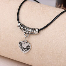 New floating charm silver colour women rope necklace Retro Heart pendant collier