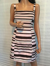 $795 NWT Authentic Red VALENTINO Stripe Tafetta Dress sz 44