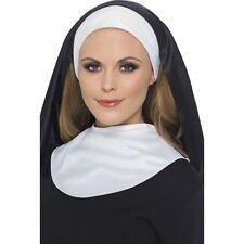Nun Habit Collar Headpiece Womens Halloween Costume Nuns Adult Hat Hood Black