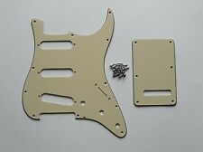 Strat Pickguard,Back Plate and Screws SSS Light Cream 3 Ply !