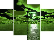 Large 4 Multi Panel Canvas Picture Deep Green Sea Black Wall Art Print Set